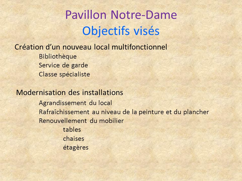 Pavillon Notre-Dame Objectifs visés Création dun nouveau local multifonctionnel Bibliothèque Service de garde Classe spécialiste Modernisation des ins