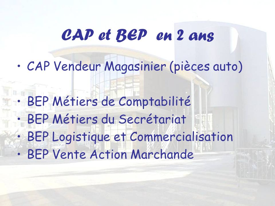 CAP et BEP en 2 ans CAP Vendeur Magasinier (pièces auto) BEP Métiers de Comptabilité BEP Métiers du Secrétariat BEP Logistique et Commercialisation BEP Vente Action Marchande