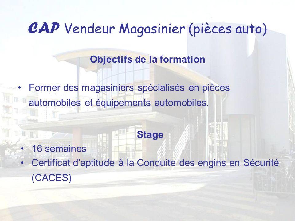 CAP Vendeur Magasinier (pièces auto) Objectifs de la formation Former des magasiniers spécialisés en pièces automobiles et équipements automobiles. St
