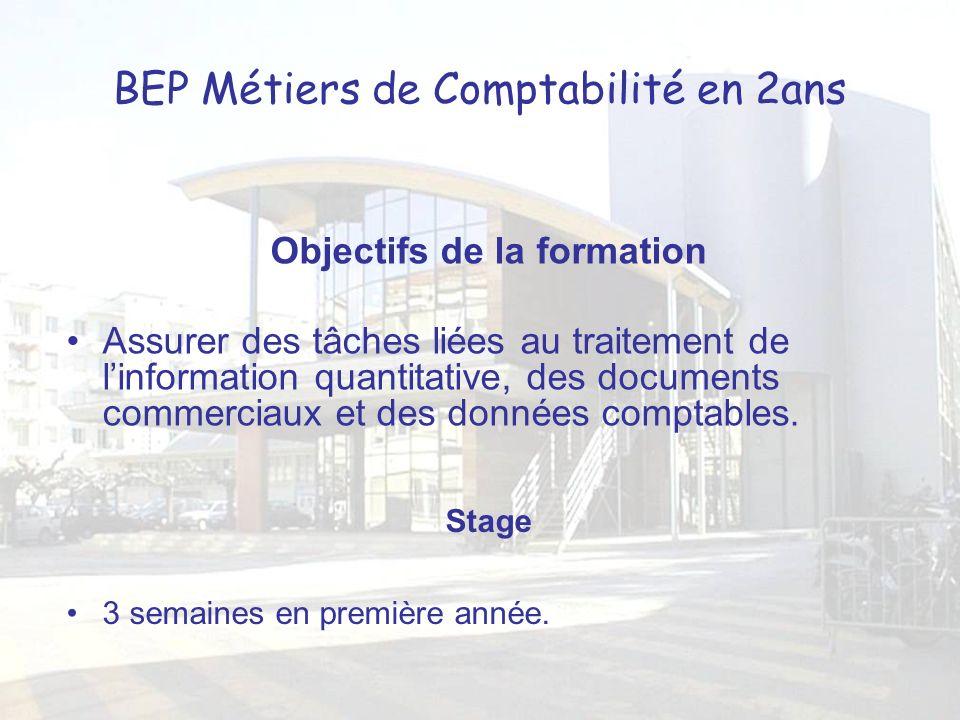 BEP Métiers de Comptabilité en 2ans Objectifs de la formation Assurer des tâches liées au traitement de linformation quantitative, des documents commerciaux et des données comptables.