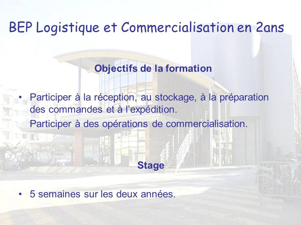 BEP Logistique et Commercialisation en 2ans Objectifs de la formation Participer à la réception, au stockage, à la préparation des commandes et à lexpédition.