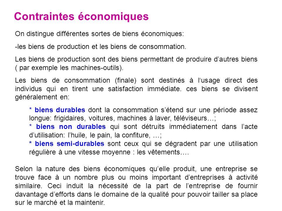 Contraintes économiques On distingue différentes sortes de biens économiques: -les biens de production et les biens de consommation. Les biens de prod