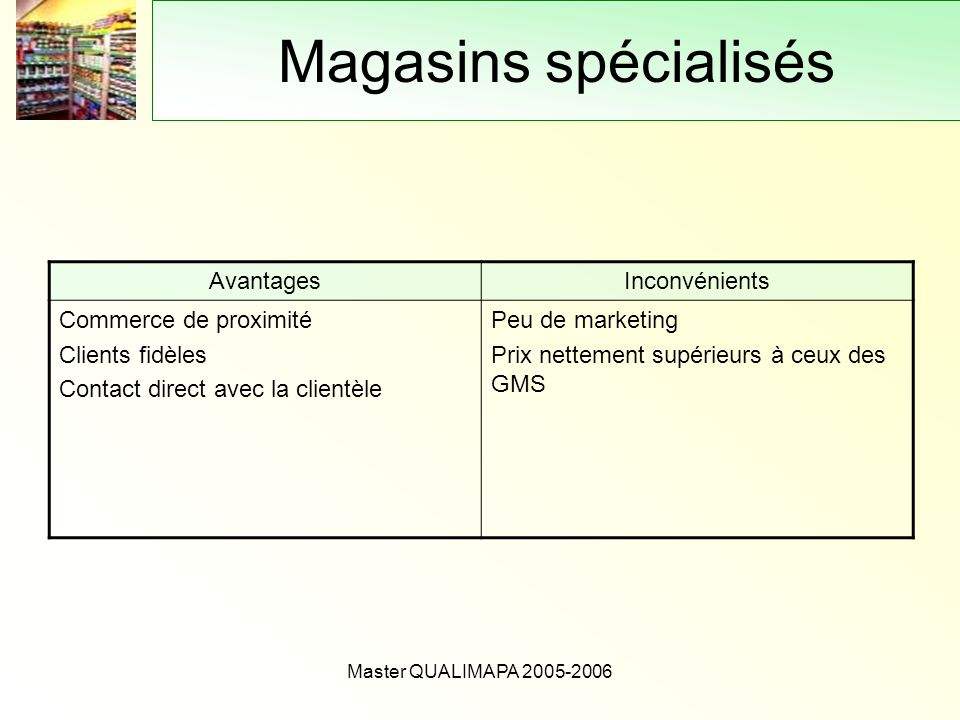 Master QUALIMAPA 2005-2006 Magasins spécialisés AvantagesInconvénients Commerce de proximité Clients fidèles Contact direct avec la clientèle Peu de m