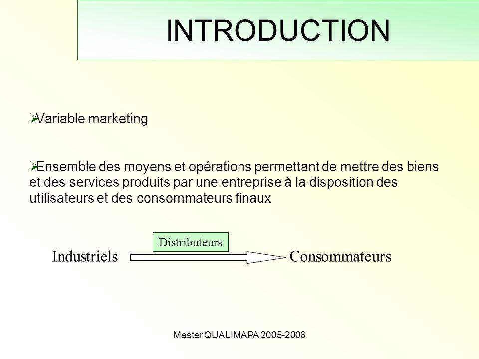 Master QUALIMAPA 2005-2006 INTRODUCTION Variable marketing Ensemble des moyens et opérations permettant de mettre des biens et des services produits p