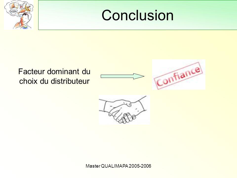 Master QUALIMAPA 2005-2006 Conclusion Facteur dominant du choix du distributeur