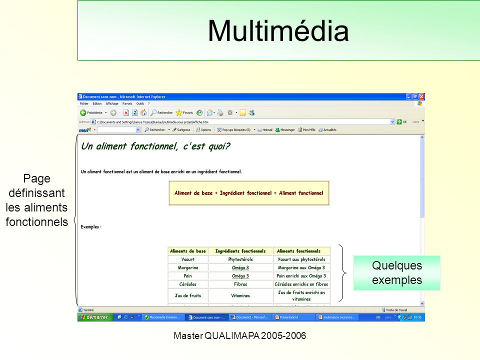 Master QUALIMAPA 2005-2006 Multimédia Page définissant les aliments fonctionnels Quelques exemples