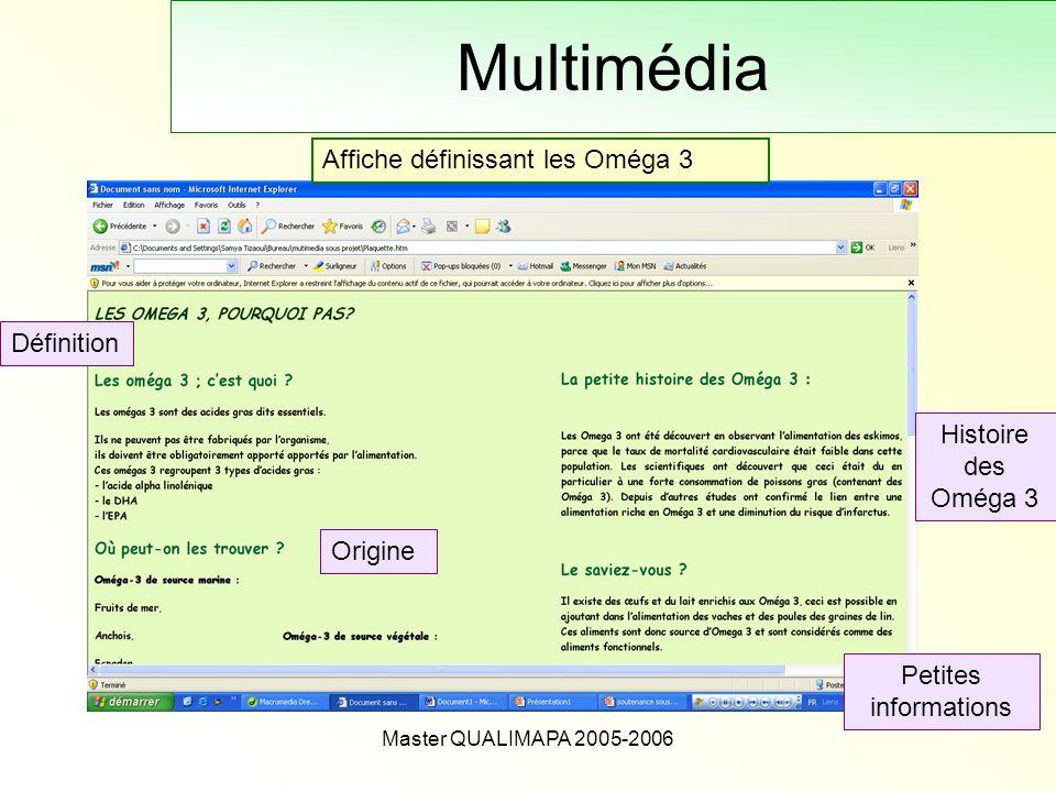 Master QUALIMAPA 2005-2006 Multimédia Affiche définissant les Oméga 3 Définition Origine Histoire des Oméga 3 Petites informations