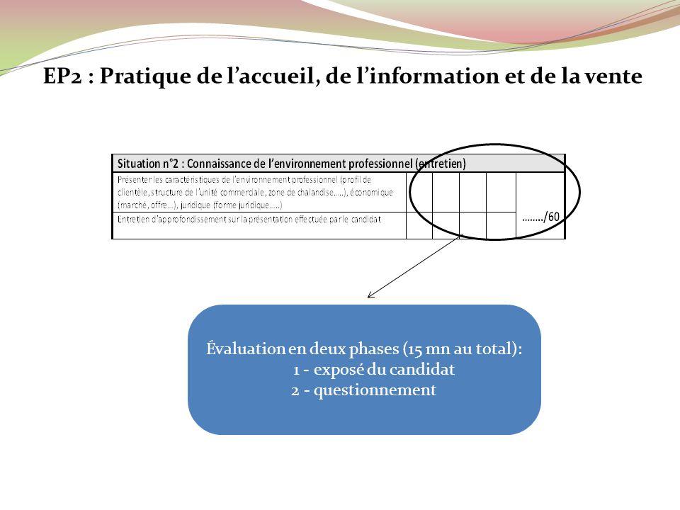 Évaluation en deux phases (15 mn au total): 1 - exposé du candidat 2 - questionnement EP2 : Pratique de laccueil, de linformation et de la vente