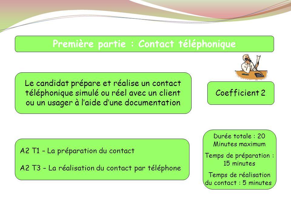 A2 T1 – La préparation du contact A2 T3 – La réalisation du contact par téléphone Première partie : Contact téléphonique Le candidat prépare et réalis