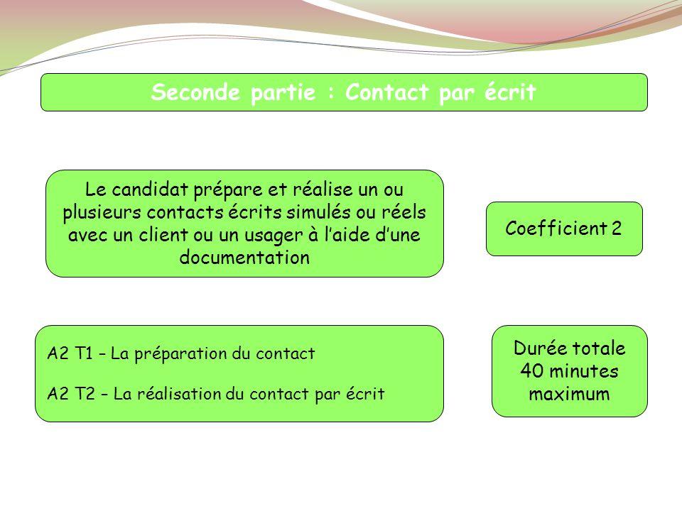 Seconde partie : Contact par écrit Le candidat prépare et réalise un ou plusieurs contacts écrits simulés ou réels avec un client ou un usager à laide