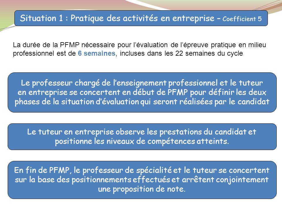 Situation 1 : Pratique des activités en entreprise – Coefficient 5 Le professeur chargé de lenseignement professionnel et le tuteur en entreprise se c