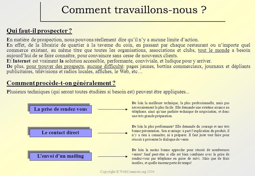 Copyright © WebConnecto.org 2004 Comment travaillons-nous .