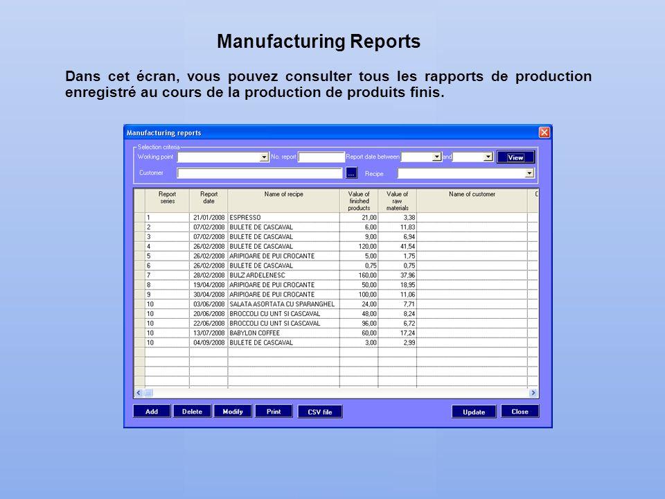 Dans cet écran, vous pouvez consulter tous les rapports de production enregistré au cours de la production de produits finis. Manufacturing Reports