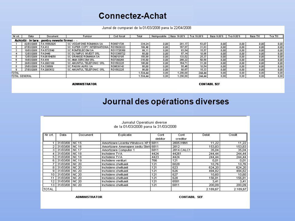 Connectez-Achat. Journal des opérations diverses
