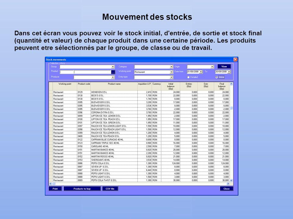 Mouvement des stocks Dans cet écran vous pouvez voir le stock initial, d'entrée, de sortie et stock final (quantité et valeur) de chaque produit dans