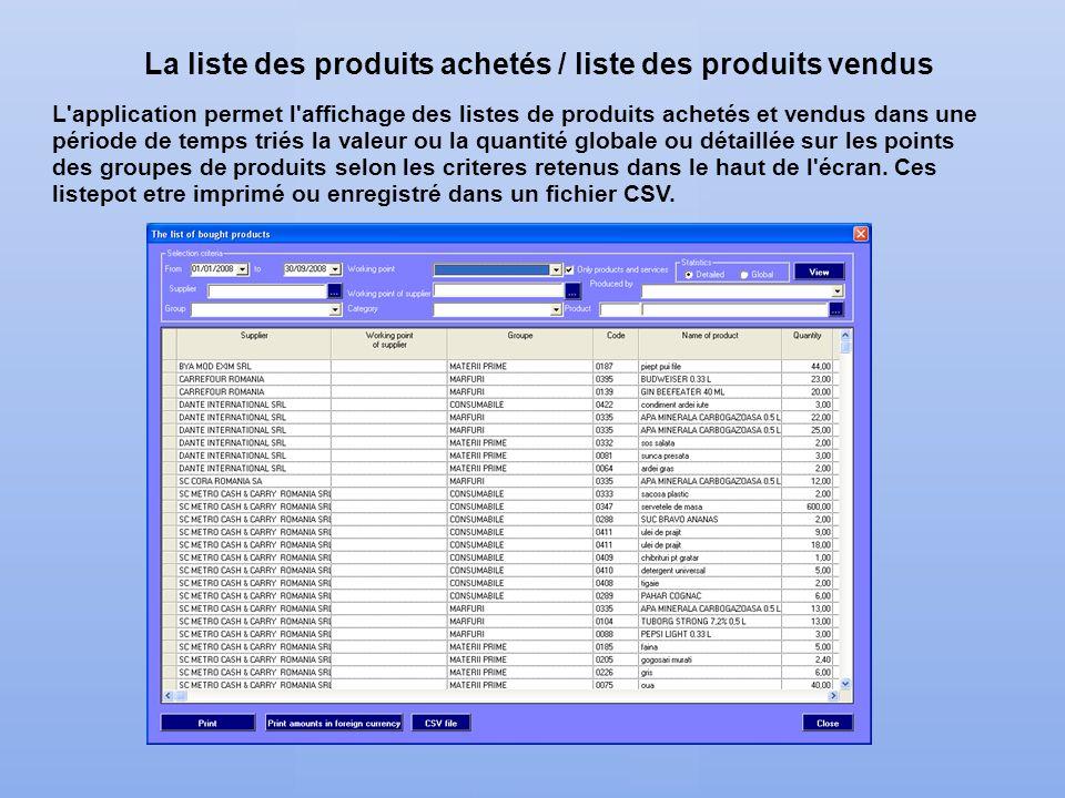 La liste des produits achetés / liste des produits vendus L'application permet l'affichage des listes de produits achetés et vendus dans une période d
