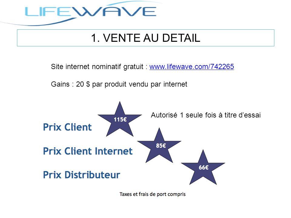 1. VENTE AU DETAIL Site internet nominatif gratuit : www.lifewave.com/742265www.lifewave.com/742265 Gains : 20 $ par produit vendu par internet Autori