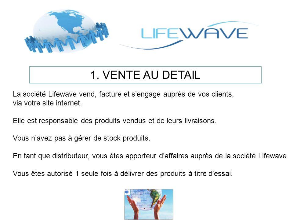 1. VENTE AU DETAIL La société Lifewave vend, facture et sengage auprès de vos clients, via votre site internet. Elle est responsable des produits vend