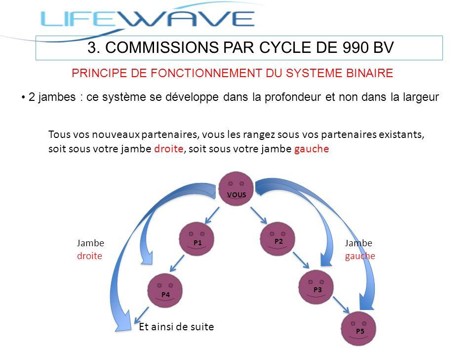 3. COMMISSIONS PAR CYCLE DE 990 BV PRINCIPE DE FONCTIONNEMENT DU SYSTEME BINAIRE 2 jambes : ce système se développe dans la profondeur et non dans la
