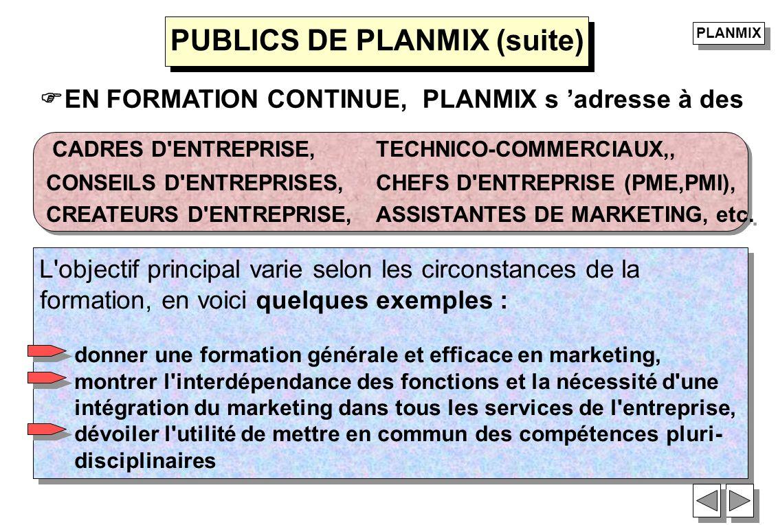 EN FORMATION CONTINUE, PLANMIX s adresse à des CADRES D'ENTREPRISE, TECHNICO-COMMERCIAUX,, CONSEILS D'ENTREPRISES, CHEFS D'ENTREPRISE (PME,PMI), CREAT