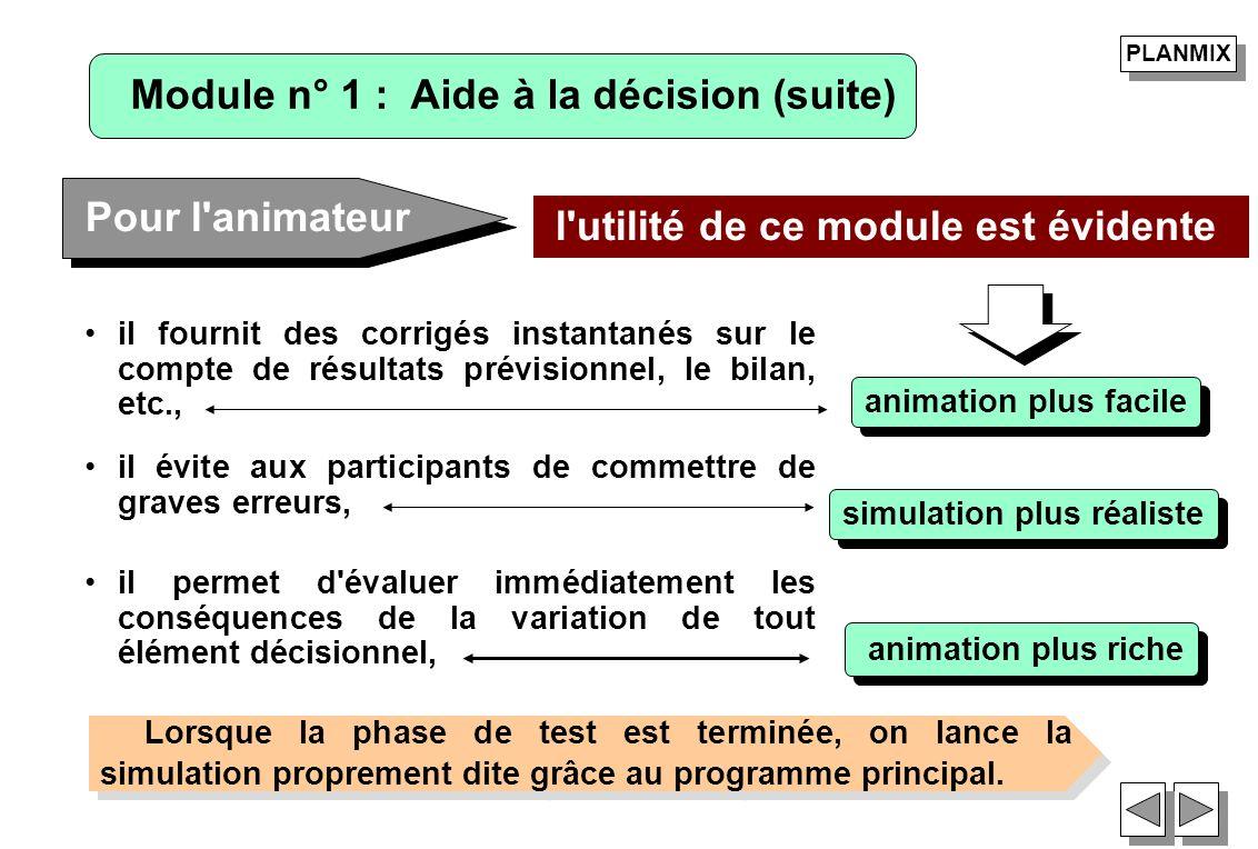 il fournit des corrigés instantanés sur le compte de résultats prévisionnel, le bilan, etc., Pour l'animateur l'utilité de ce module est évidente anim