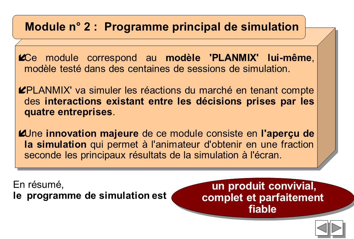 íCe module correspond au modèle 'PLANMIX' lui-même, modèle testé dans des centaines de sessions de simulation. í'PLANMIX' va simuler les réactions du