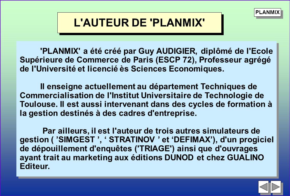 'PLANMIX' a été créé par Guy AUDIGIER, diplômé de l'Ecole Supérieure de Commerce de Paris (ESCP 72), Professeur agrégé de l'Université et licencié ès