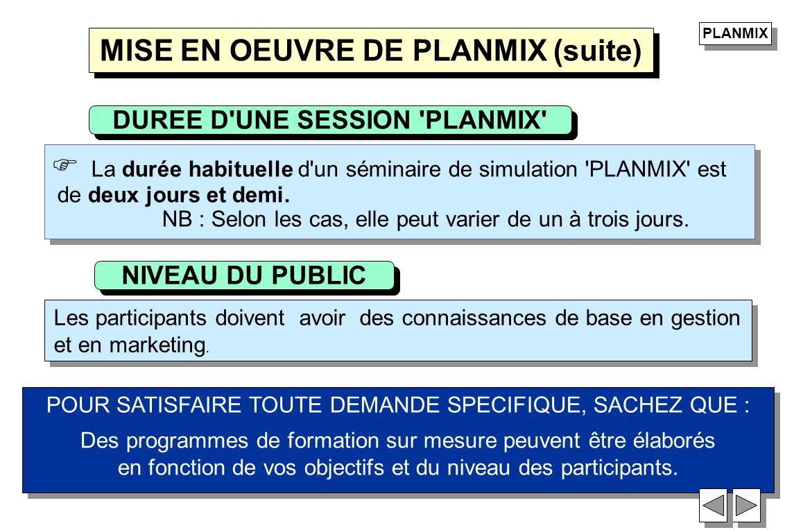 La durée habituelle d'un séminaire de simulation 'PLANMIX' est de deux jours et demi. NB : Selon les cas, elle peut varier de un à trois jours. La dur