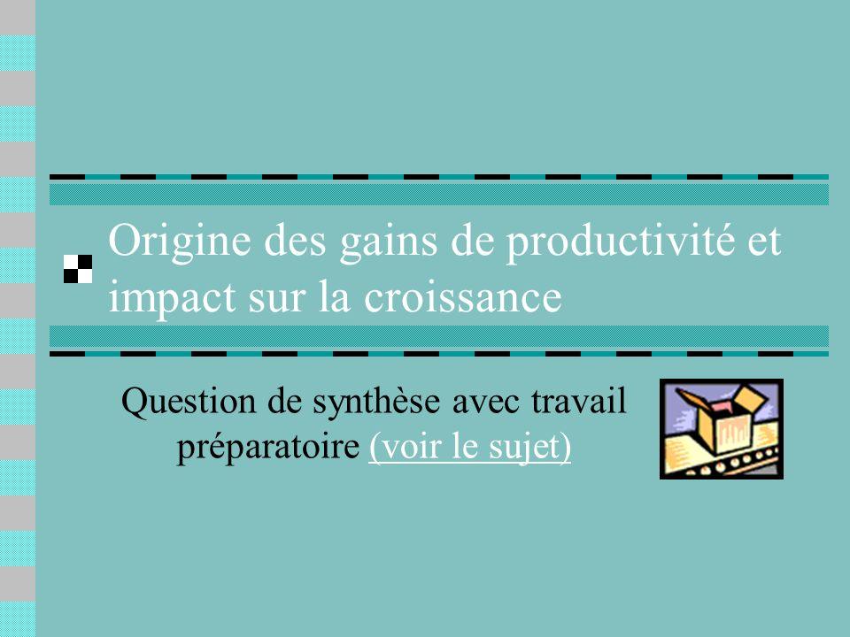 Origine des gains de productivité et impact sur la croissance Question de synthèse avec travail préparatoire (voir le sujet)(voir le sujet)