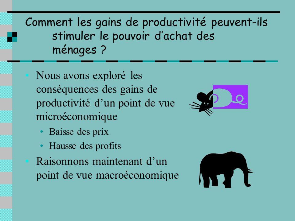 Comment une hausse de la productivité permet-elle une baisse des prix ? Lentreprise qui réalise un gain de productivité bénéficie dune réduction de so