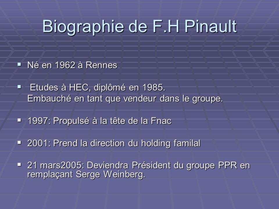 Biographie de F.H Pinault Né en 1962 à Rennes Né en 1962 à Rennes Etudes à HEC, diplômé en 1985.