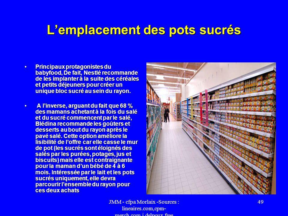 JMM - cfpa Morlaix -Sources : lineaires.com,cpm- merch.com,j.delpoux.free 48 Babyfood Le duel Blédina et Nestlé se joue aussi sur le terrain du mercha