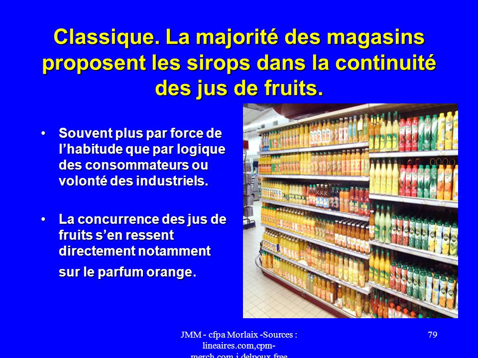 JMM - cfpa Morlaix -Sources : lineaires.com,cpm- merch.com,j.delpoux.free 78 Proscrite. Faute de place, certains supermarchés intègrent les sirops où