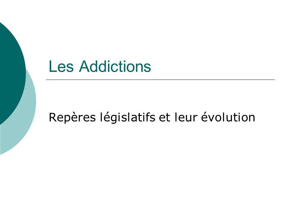 Les Addictions Repères législatifs et leur évolution