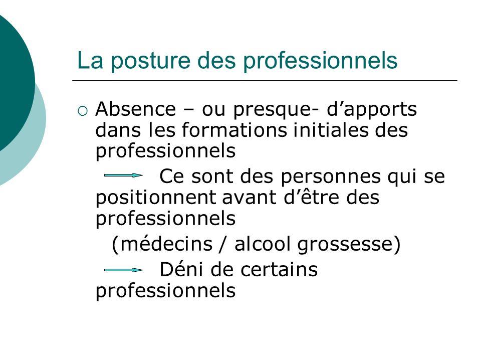 La posture des professionnels Absence – ou presque- dapports dans les formations initiales des professionnels Ce sont des personnes qui se positionnen