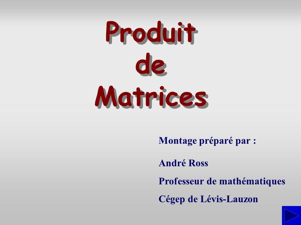 Montage préparé par : André Ross Professeur de mathématiques Cégep de Lévis-Lauzon Produit de Matrices Produit de Matrices