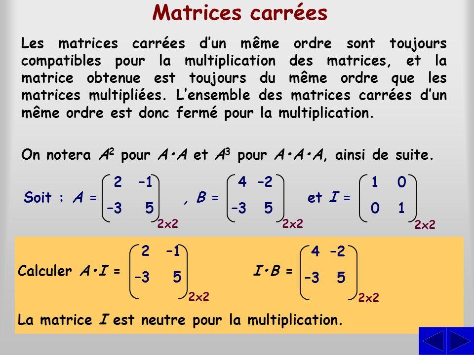 Matrices carrées Les matrices carrées dun même ordre sont toujours compatibles pour la multiplication des matrices, et la matrice obtenue est toujours