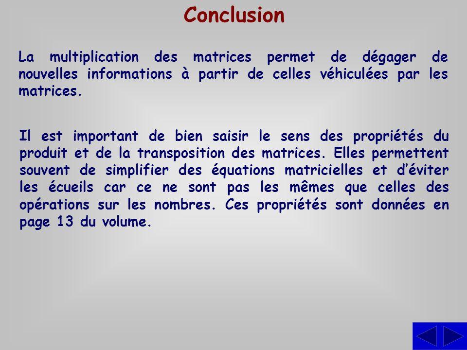Conclusion La multiplication des matrices permet de dégager de nouvelles informations à partir de celles véhiculées par les matrices. Il est important