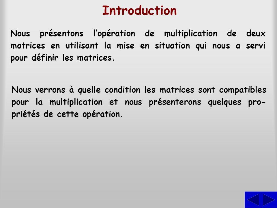 Nous présentons lopération de multiplication de deux matrices en utilisant la mise en situation qui nous a servi pour définir les matrices. Introducti