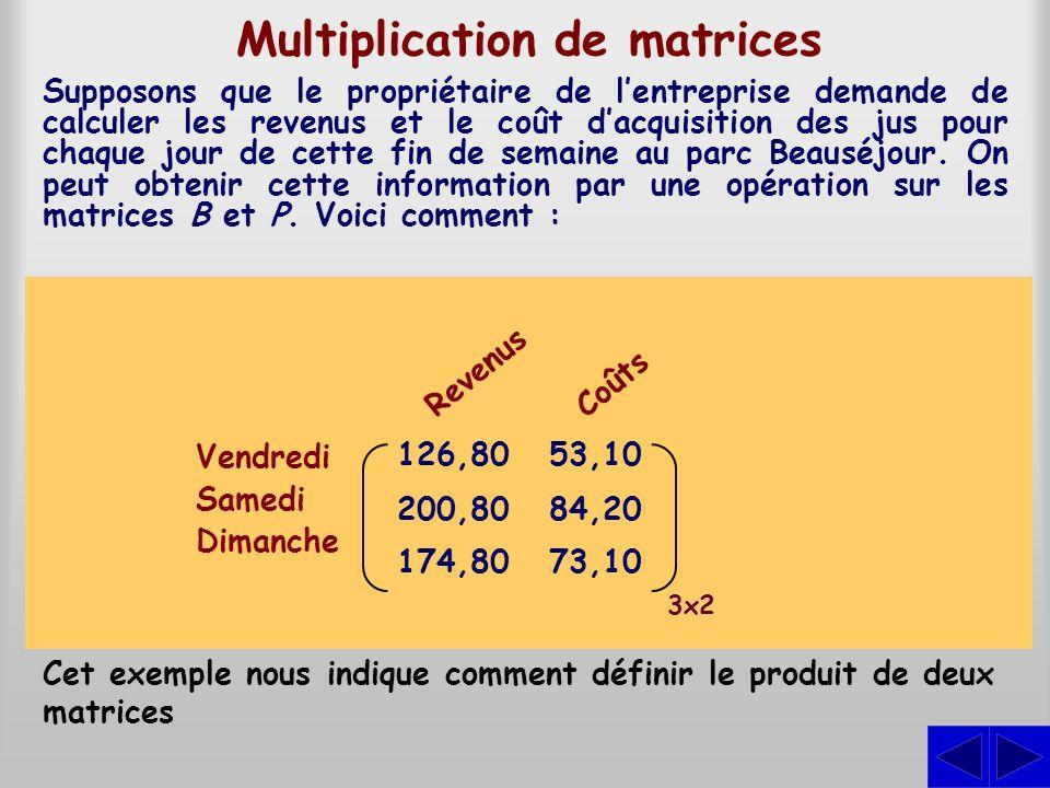 Multiplication de matrices Supposons que le propriétaire de lentreprise demande de calculer les revenus et le coût dacquisition des jus pour chaque jo