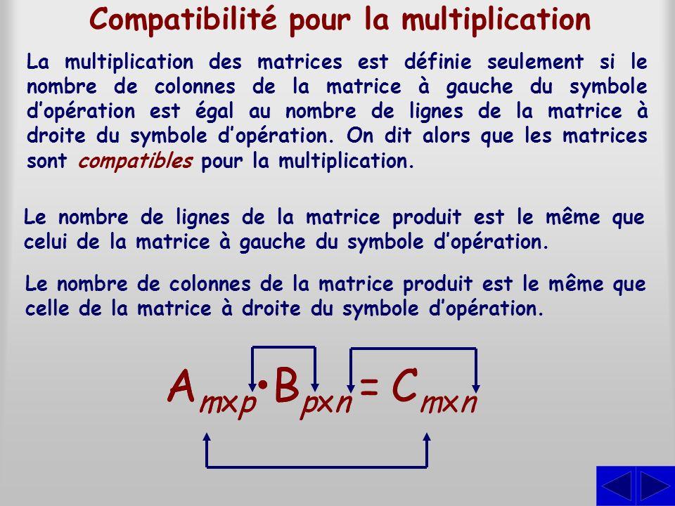 AmxpBpxnAmxpBpxn Compatibilité pour la multiplication La multiplication des matrices est définie seulement si le nombre de colonnes de la matrice à ga