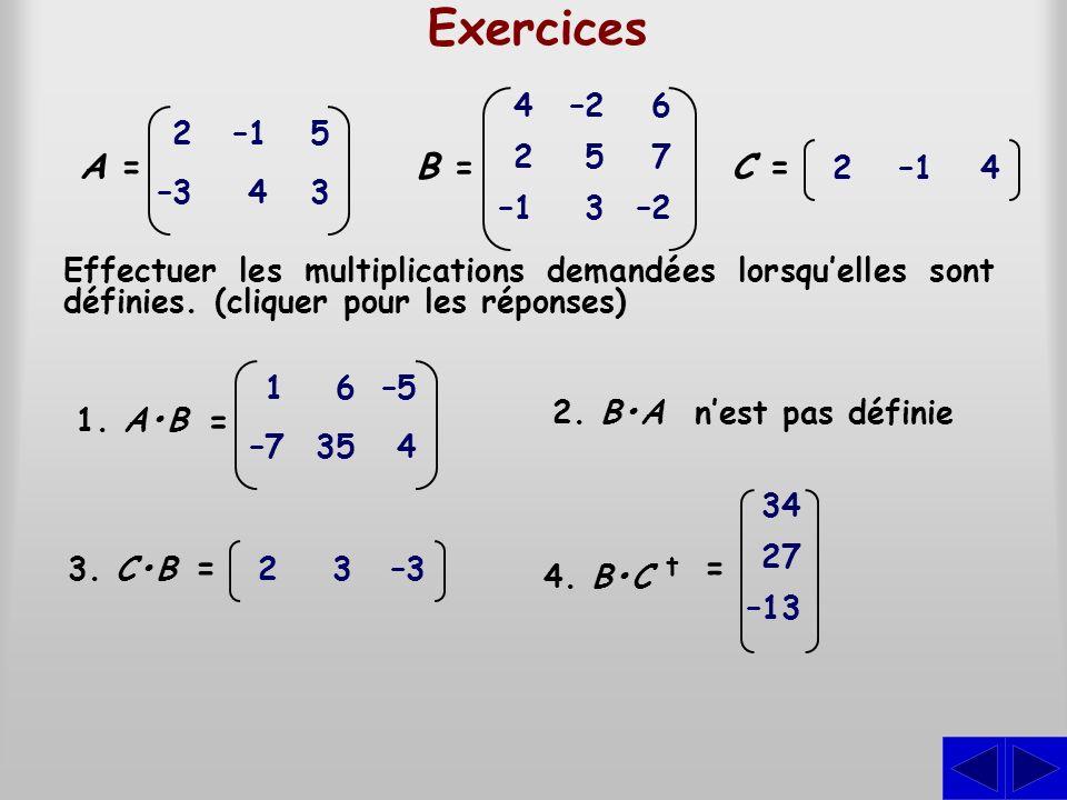Exercices Effectuer les multiplications demandées lorsquelles sont définies. (cliquer pour les réponses) 2 –3 –1 4 5353 A = 4 2 –1 –2 5 3 6 7 –2 B = 2