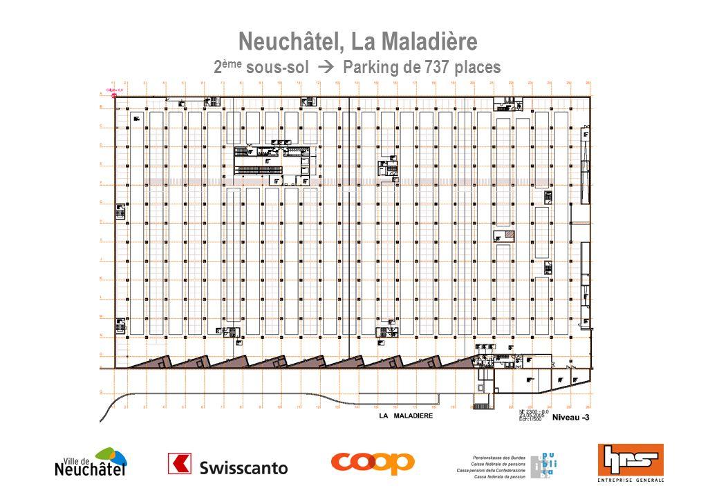 Neuchâtel, La Maladière 1 er sous-sol 15555 m2 Parking de 185 places