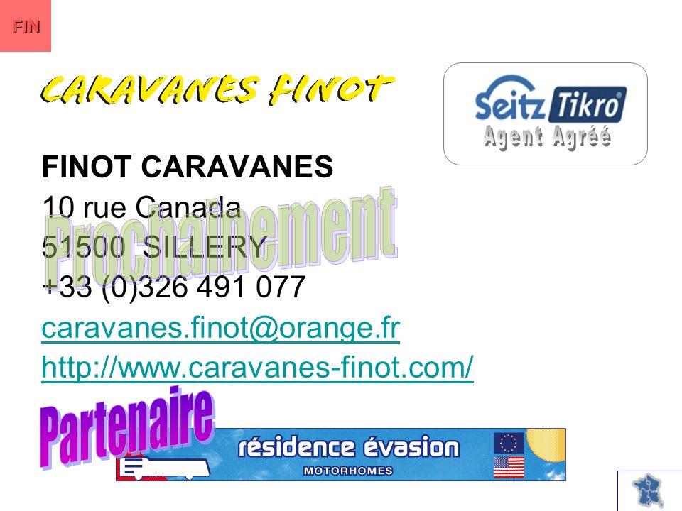 FINOT CARAVANES 10 rue Canada 51500 SILLERY +33 (0)326 491 077 caravanes.finot@orange.fr http://www.caravanes-finot.com/ FIN