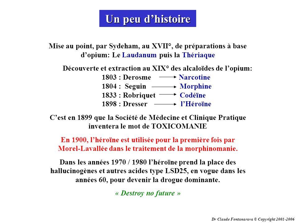 Dr Claude Fontanarava © Copyright 2001-2006 Un peu dhistoire Mise au point, par Sydeham, au XVII°, de préparations à base dopium: Le Laudanum puis la