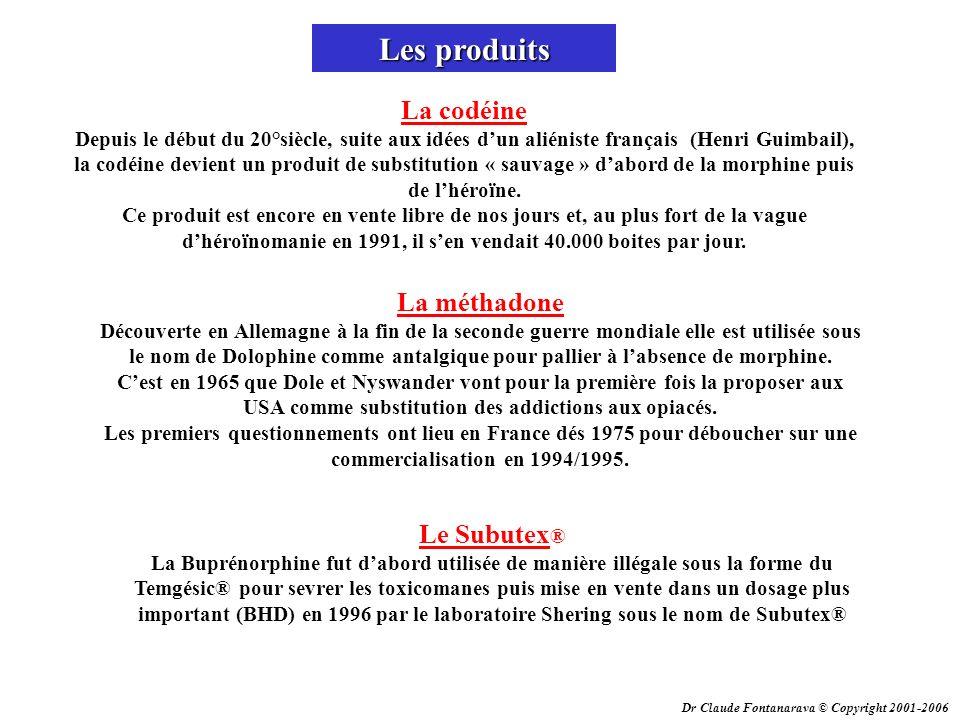 Dr Claude Fontanarava © Copyright 2001-2006 Les produits La codéine Depuis le début du 20°siècle, suite aux idées dun aliéniste français (Henri Guimba