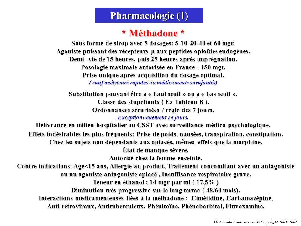 Dr Claude Fontanarava © Copyright 2001-2006 Pharmacologie (1) * Méthadone * Sous forme de sirop avec 5 dosages: 5-10-20-40 et 60 mgr. Agoniste puissan