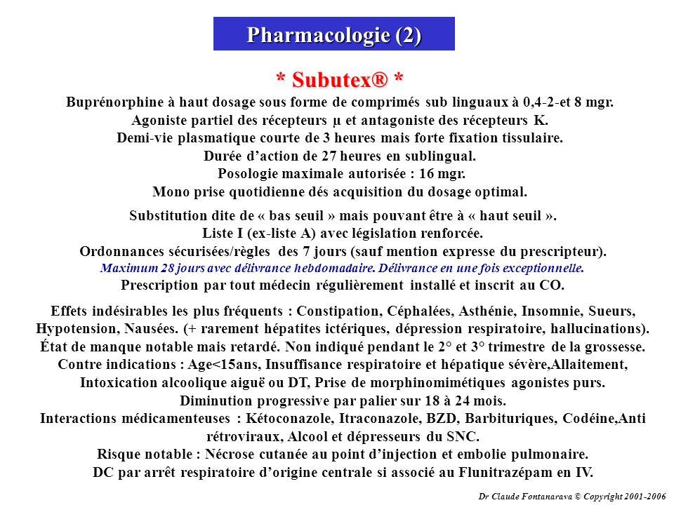 Dr Claude Fontanarava © Copyright 2001-2006 Pharmacologie (2) * Subutex® * * Subutex® * Buprénorphine à haut dosage sous forme de comprimés sub lingua