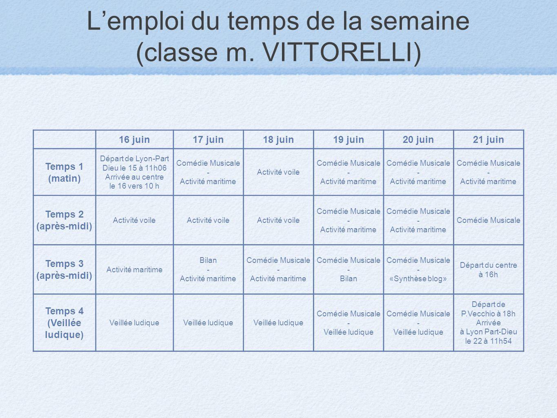 Lemploi du temps de la semaine (classe m. VITTORELLI) 16 juin17 juin18 juin19 juin20 juin21 juin Temps 1 (matin) Départ de Lyon-Part Dieu le 15 à 11h0