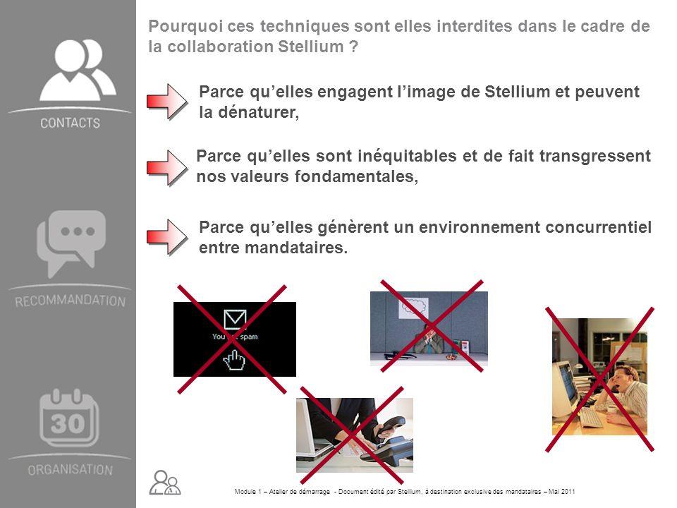 Module 1 – Atelier de démarrage - Document édité par Stellium, à destination exclusive des mandataires – Mai 2011 Parce quelles engagent limage de Ste